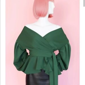Off the Shoulder Green Blouse